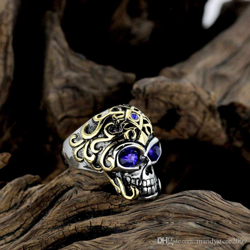 Буле красный драгоценный камень ювелирные изделия SkeletonRing мужская Титановая сталь Vintga античная отделка Diamante гальваническим прохладный ночной клуб аксессуары череп кольца