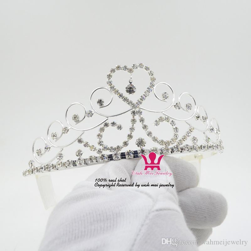 Coeur Diadèmes Strass Cristal De Couronne Princesse Accessoires De Cheveux Peigne Bandeau Clip Accessoires De Mariage De Mariée Queen Party Prom Show Mo129