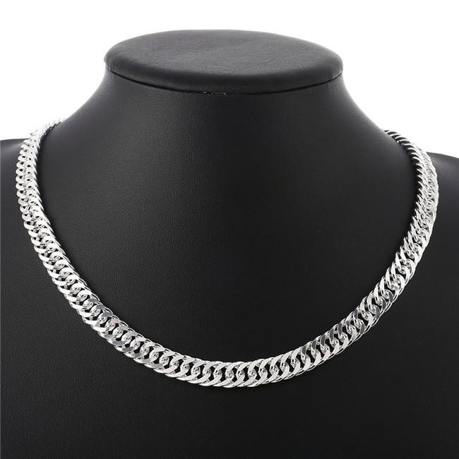 collana lato pesante 60g 10MM completa Uomini collana argento sterling piastra STSN039 catene d'argento fabbrica collana