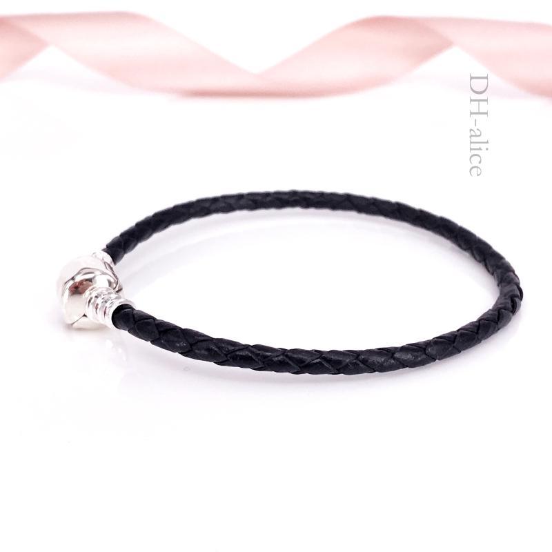 Authentique Moments en Argent Sterling 925 Simple Bracelet Tissé-Cuir Noir Convient aux Charmes de Bijoux de Style Pandora Européen 590705CBK-S