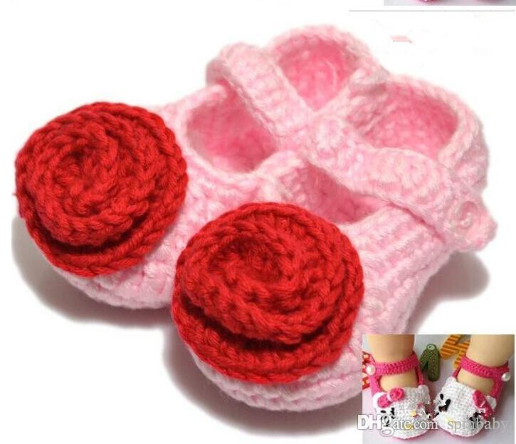 Handmade Toddler Baby Girl Shoes Baby Crochet Shoes Knit Flower Sandals Infant Hello cartoon Kitty Shoes
