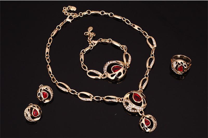 Orecchini collana bracciale anello gioielli set squisita moda Womne strass 18 k placcato oro gioielli partito 4 pezzi all'ingrosso JS237