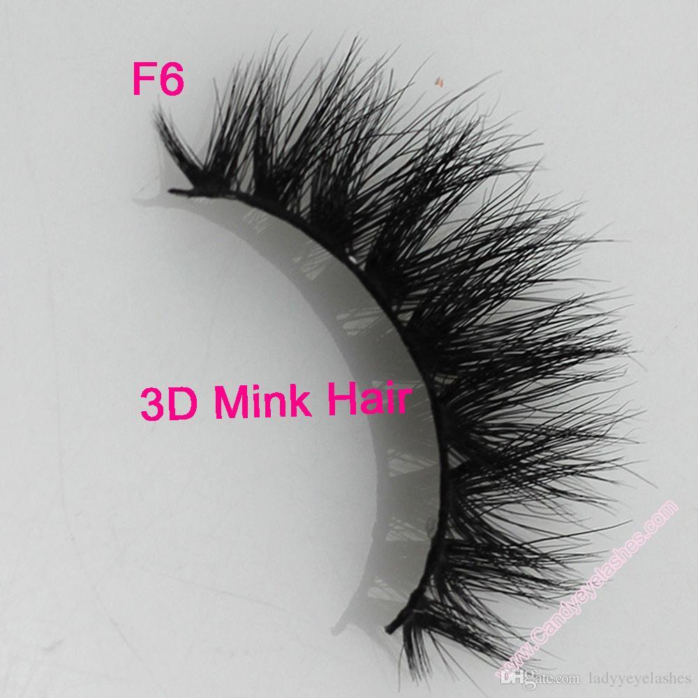 F6 3D vison cils forfait sur mesure en gros 100% fourrure de vison fait à la main cils croisés à la main bande individuelle cils épais