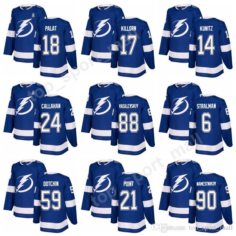 2019 Tampa Bay Lightning Jerseys Hockey 18 Ondrej Palat 17 Alex Killorn 14  Chris Kunitz 24 Ryan Callahan 88 Andrei Vasilevskiy 6 Anton Stralman From  ... b3f01206e