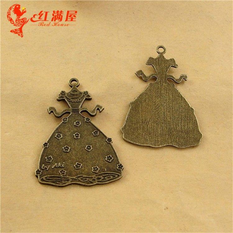A2458 51*37MM Zinc alloy plating ancient bronze retro skirt dress gown charms metal pendant South Korea new DIY accessories wholesale
