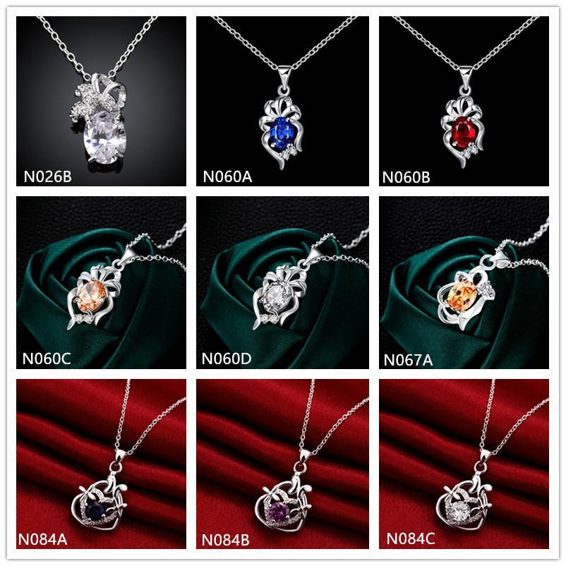 Collar de plata 925 del collar de plata de la moda de la moda de la moda del collar de 10 piezas de 10 piezas de estilo mezclado, collares colgantes de plata esterlina baratos emn31