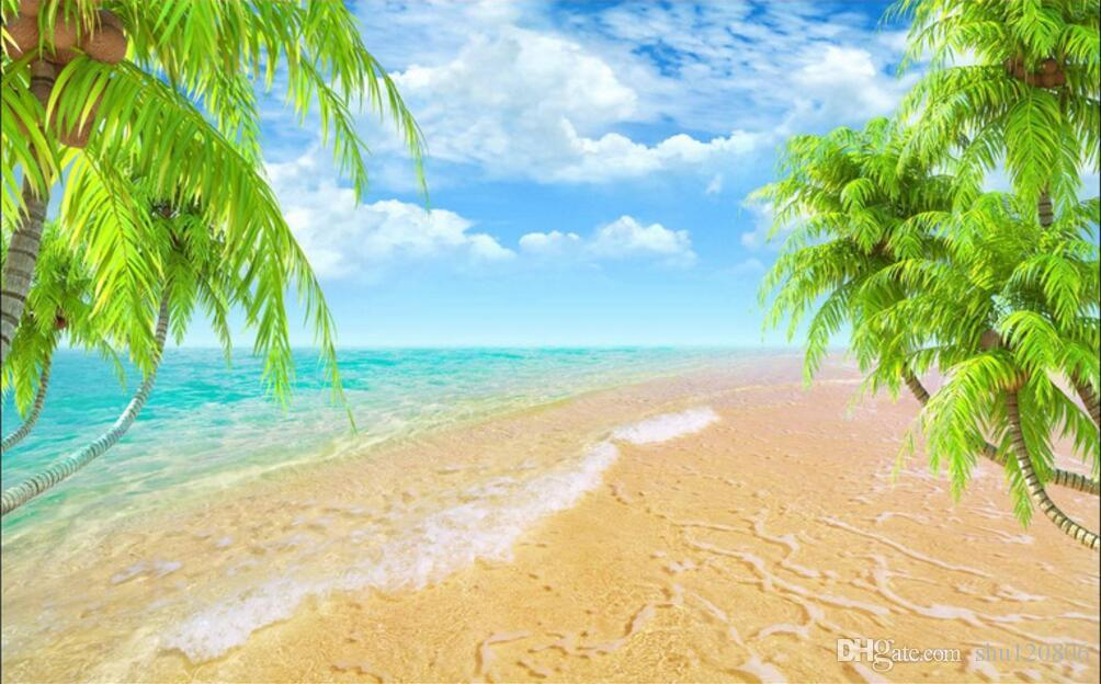 3d room wallpaper custom photo mural Hawaii beach coconut trees home decor painting picture 3d wall murals wallpaper for walls 3 d