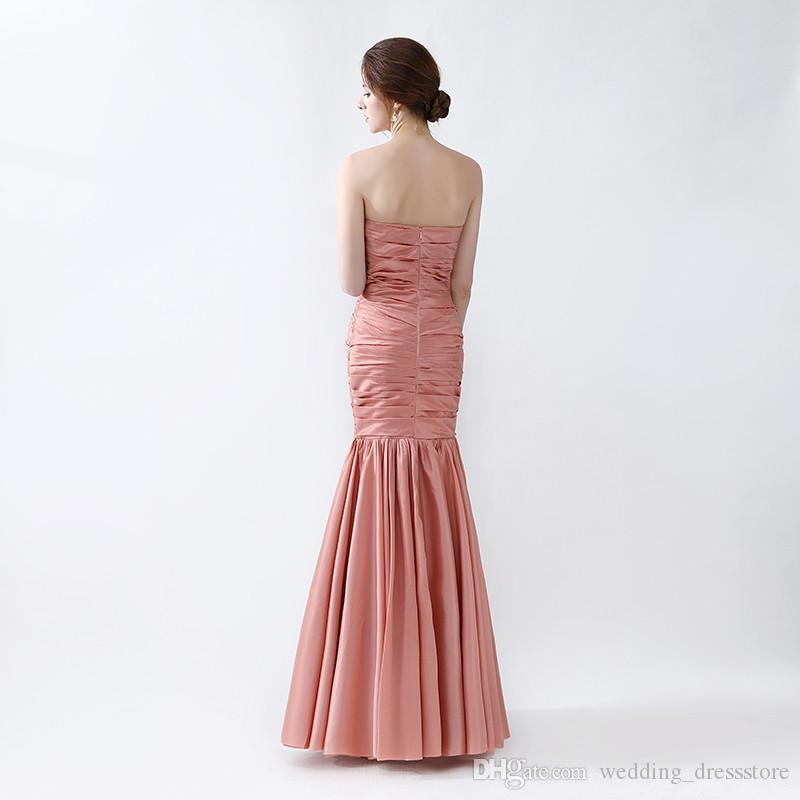 2017 Sweetheart Prom Dresses Pleats vestidos de Noiva Mermaid Evening Gowns Zipper Back Design Hot Sale
