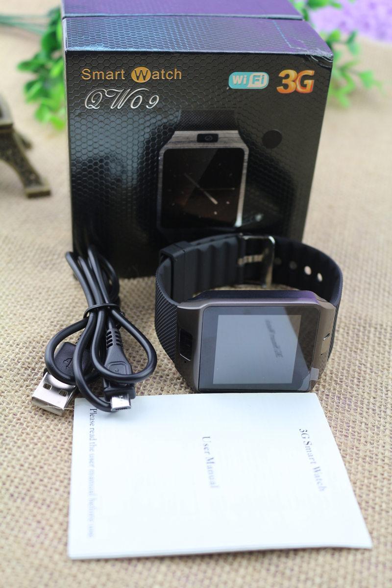 3G WIFI QW09 montre intelligente Android avec caméra 5MP 512MB / 4GB Bluetooth 4.0 podomètre carte SIM appel anti-perte Smartwatches PK DZ09 GT08