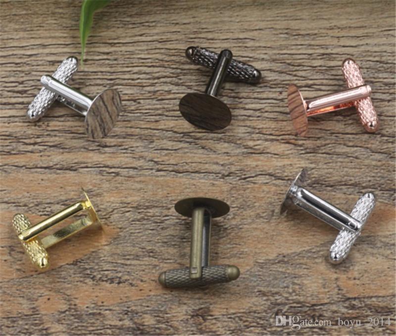BoYuTe 20 Adet 6 MM 8 MM 10 MM 12 MM Yuvarlak Cabochon Düz Kol Düğmeleri Baz Diy Kol Düğmesi Boşluklar Tepsi Çerçeve Takı Aksesuarları