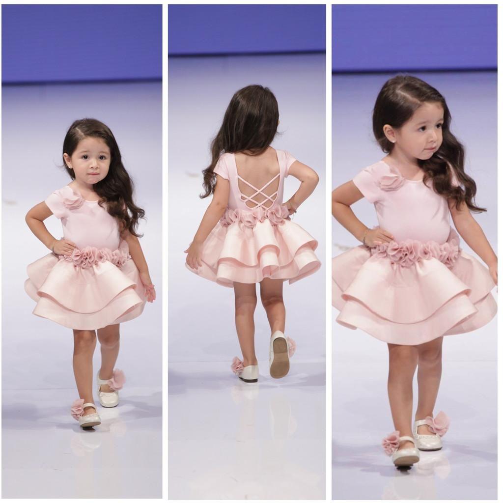 Pink Cupcake Little Girls Pageant Dresses Satin Toddler Flower Girl Dresses Hand Made Flowers Sash Short 2 Tiered Ruffles Criss-cross Back
