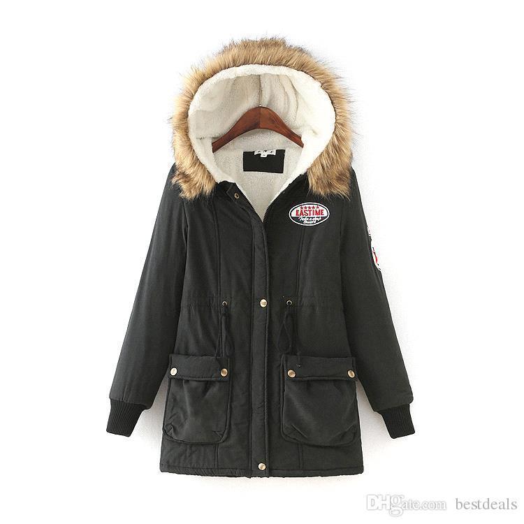 Auf Lager Winterjacke Frauen Neue Winter Womens Parka Lässige Outwear Mit Kapuze Mantel Pelz frauen Mantel Manteau Femme Frau Kleidung FS3128