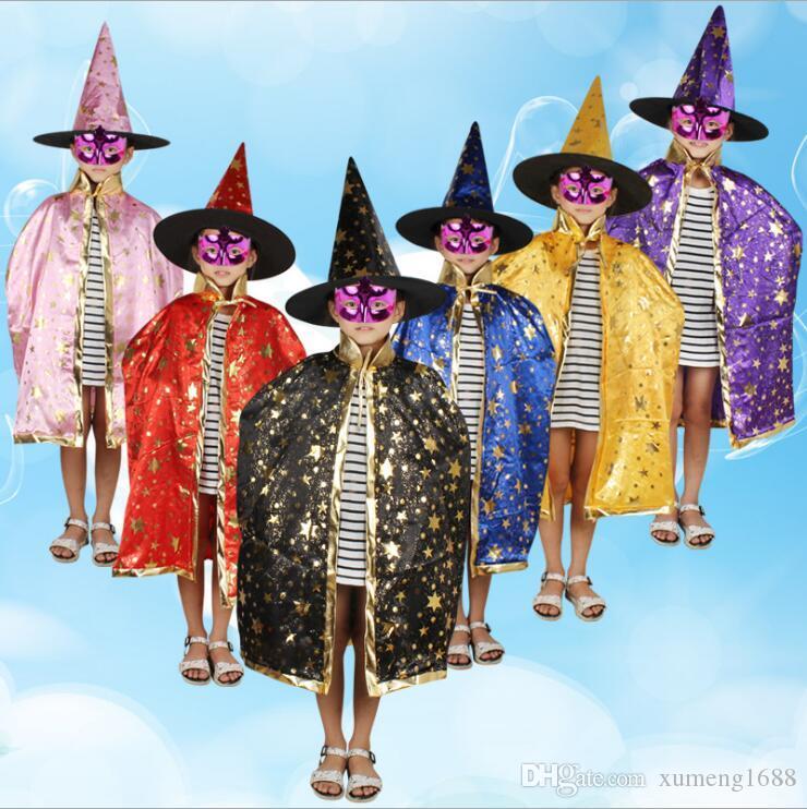 Acquista Costumi Cosplay Bambini Stelle Stile Halloween Costume Da Strega  Fantasma Con Cappello Mantello Cosplay Mantello Costume i A  4.72 Dal  Xumeng1688 ... bdde359c2334