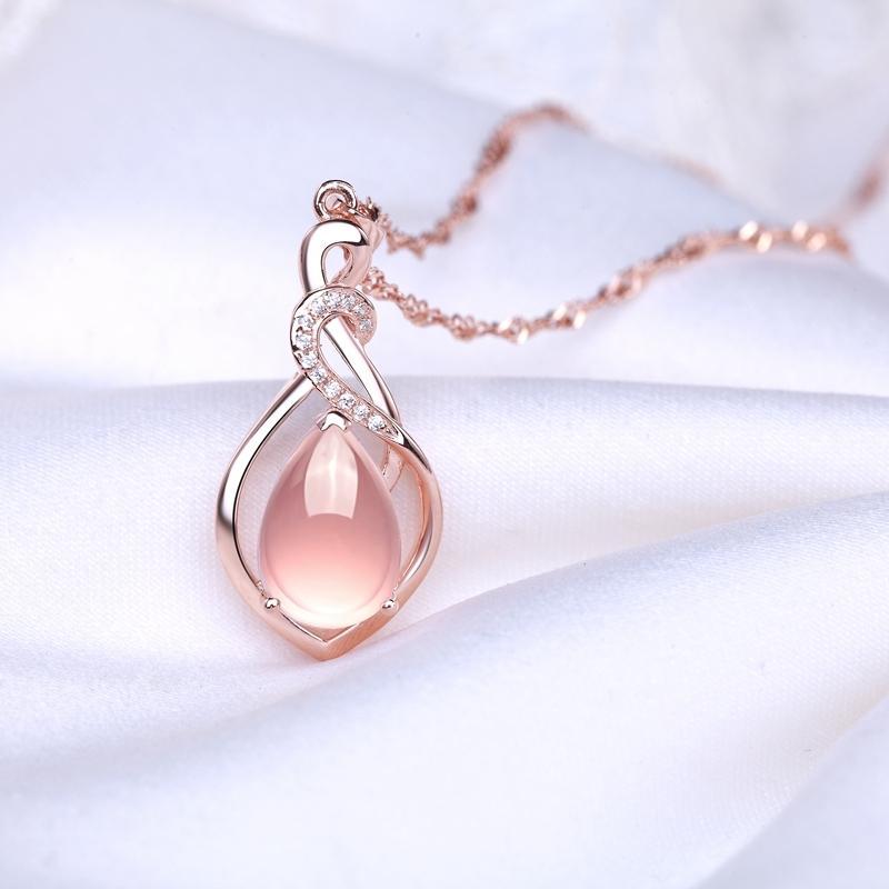YHAMNI оригинальный реальный природный стерлингового серебра 925 Кристалл ожерелье роскошные 4 ct натуральный розовый камень Ожерелье для женщин XL1