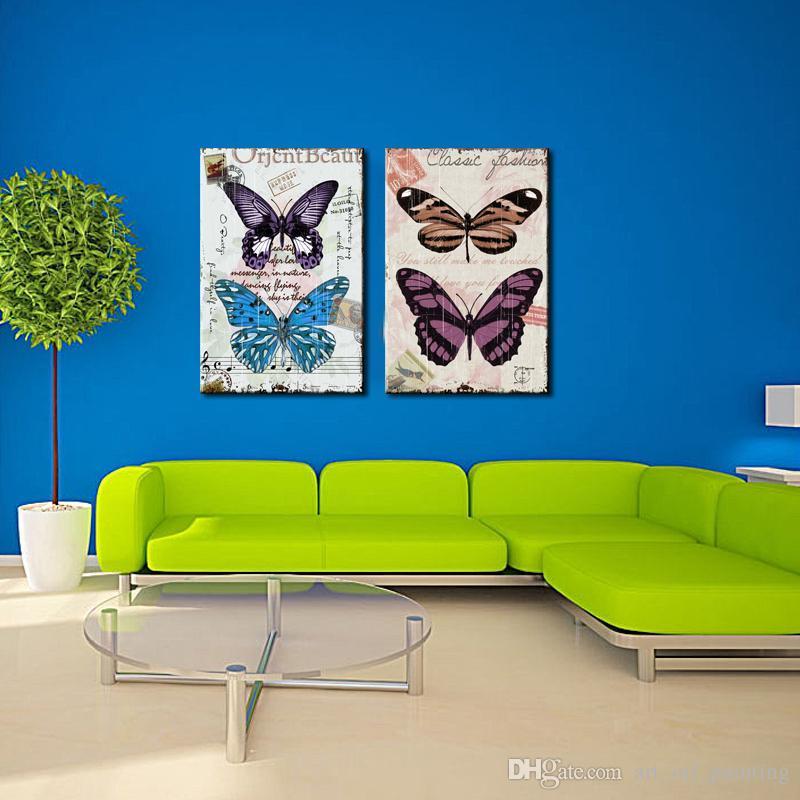 Großhandel 2 Tafeln Top Home Decoration Wand Dekor Kunst Schmetterling  Malerei Druck Auf Leinwand Kein Rahmen Vintage Artwork Für Wohnzimmer Von  ...