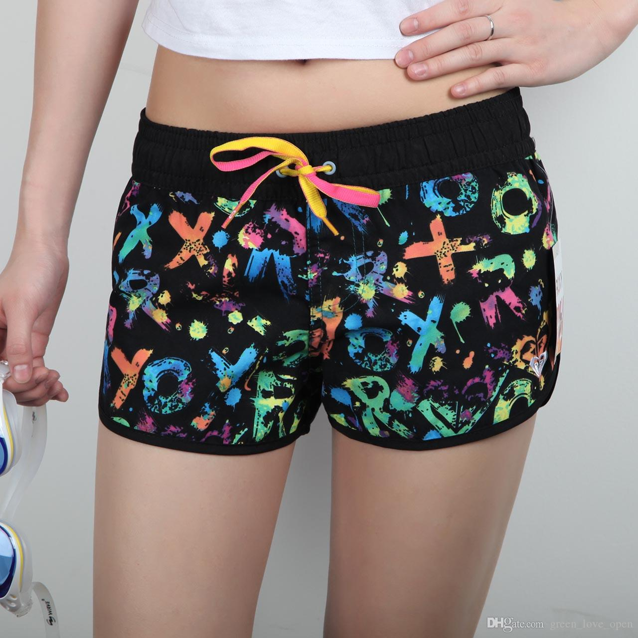 SHORT FEMME NEW 2016 FASHION BRAND WOMEN SPANDEX SWIMMING SHORT SPORT BEACH SURF SHORTS BOARDSHORTS PLUS SIZE