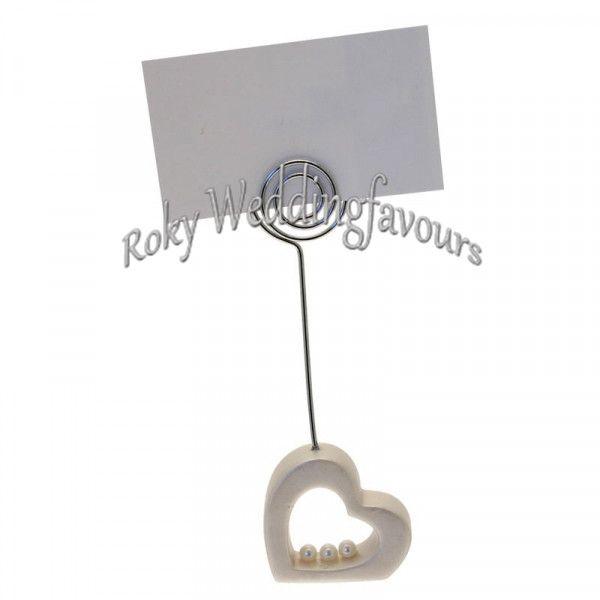 Livraison gratuite, / ! Coeur avec perle place titulaire de la carte faveurs inclus carte de papier, place titulaire de la carte faveurs