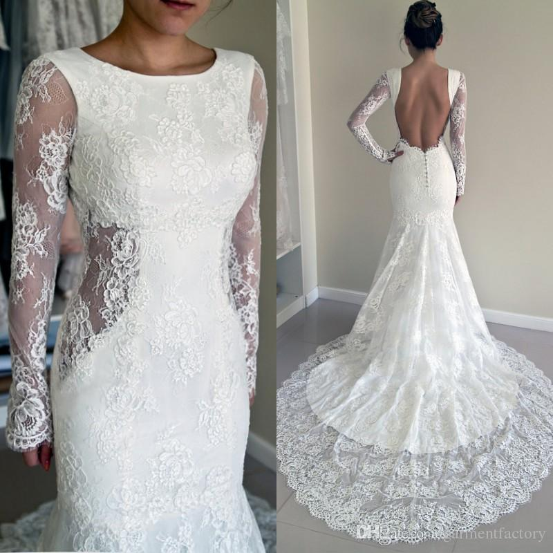 Sexy 2016 Trumpet Wedding Dresses Crew Neckline Mermaid Open Back Side Cut Out Court Train Long Sleeve Lace Dress Bridal Gowns