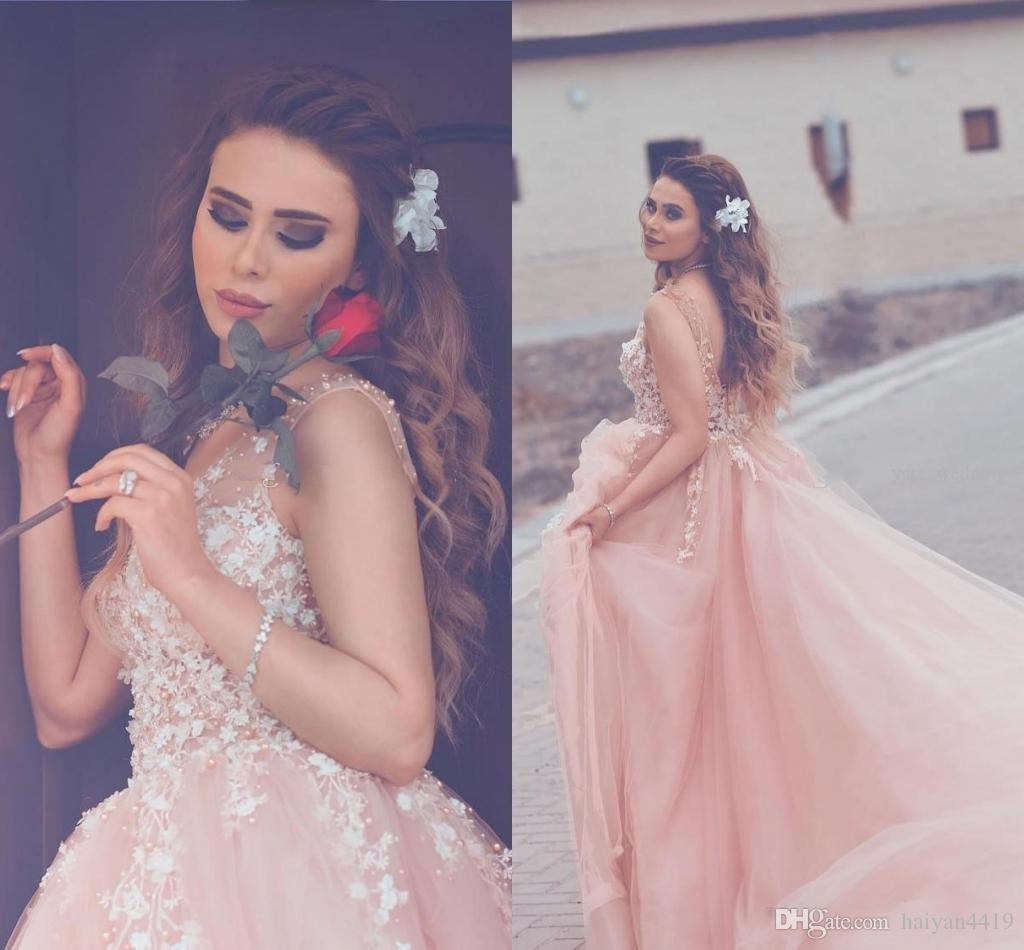 Compre 2017 Pink Tulle Prom Vestidos V Neck Sheer Correas Blancas ...