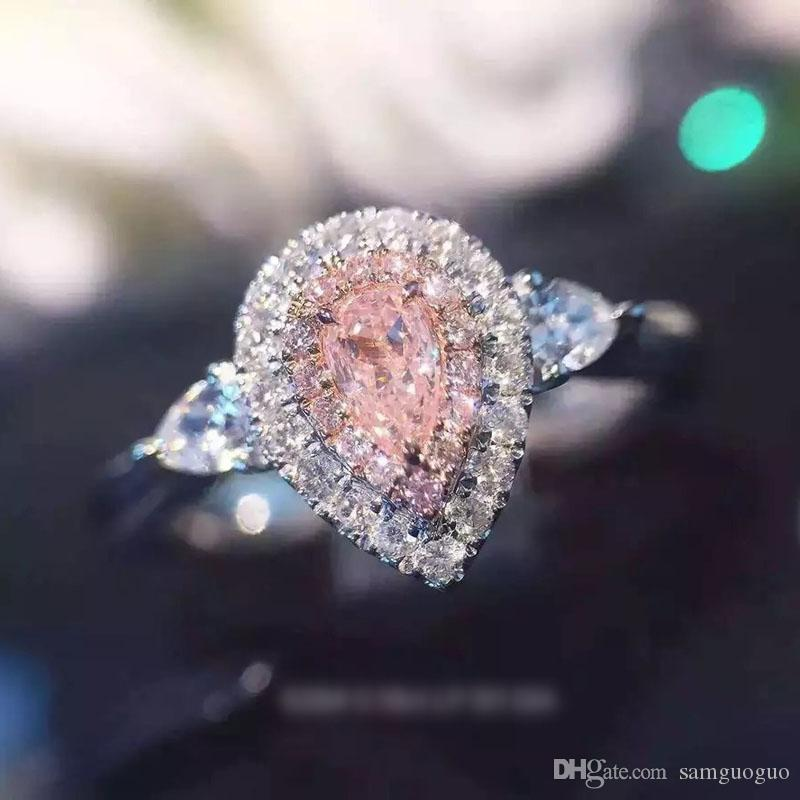 Luxurious Platinum Austrian crystal Ring Fashion Simulated diamonds Wedding Ring Creative jewelry heart gold ring wholesale