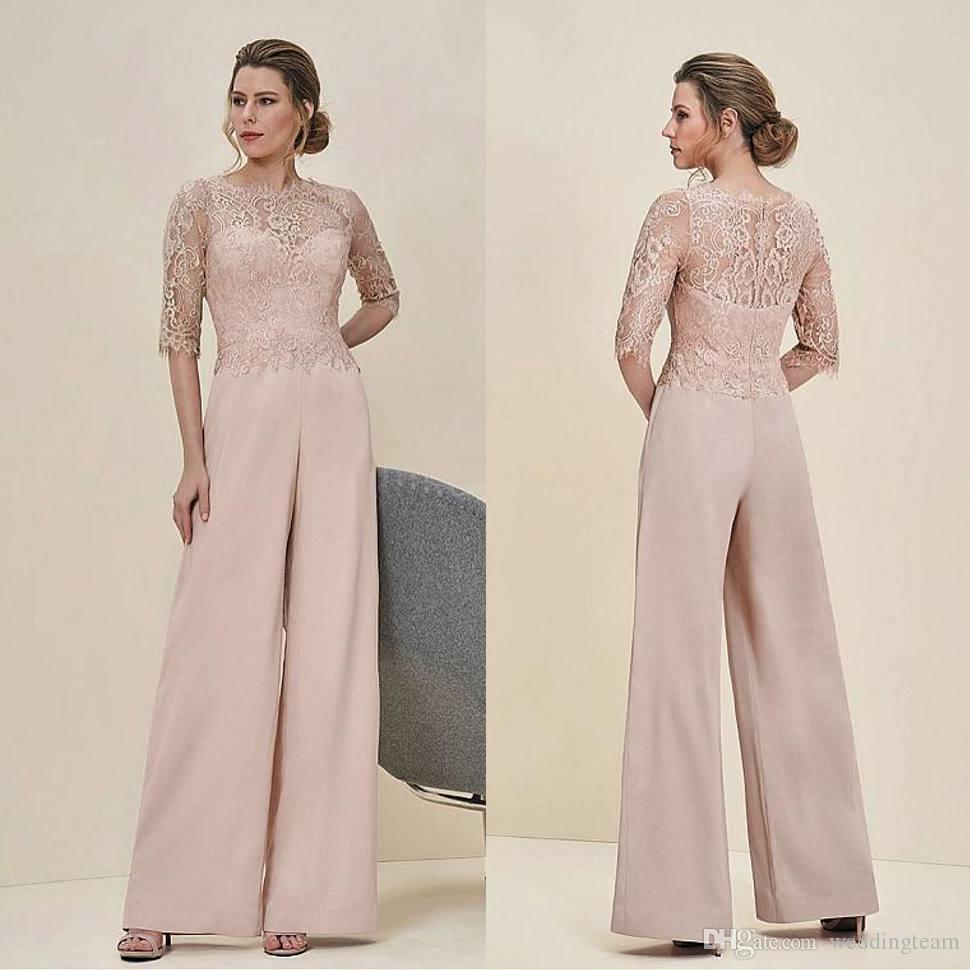 Cheap Jumpsuits Lace Mother Of The Bride Pant Suits Bateau Neck Half Sleeves Wedding Guest Dress Chiffon Plus Size Mothers Groom Dresses