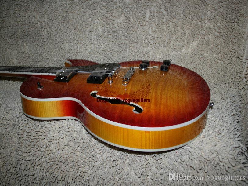 Custom Shop 137 Jazz guitarra eléctrica cuerpo hueco guitarra IN explosión de la cereza Siberian Tiger envío gratis