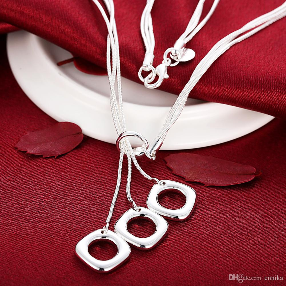 925 Sterling Silver 18inch Snake Chains 1mm 3-Squares Charms Pandent Necklace/Chain Good Quality N153