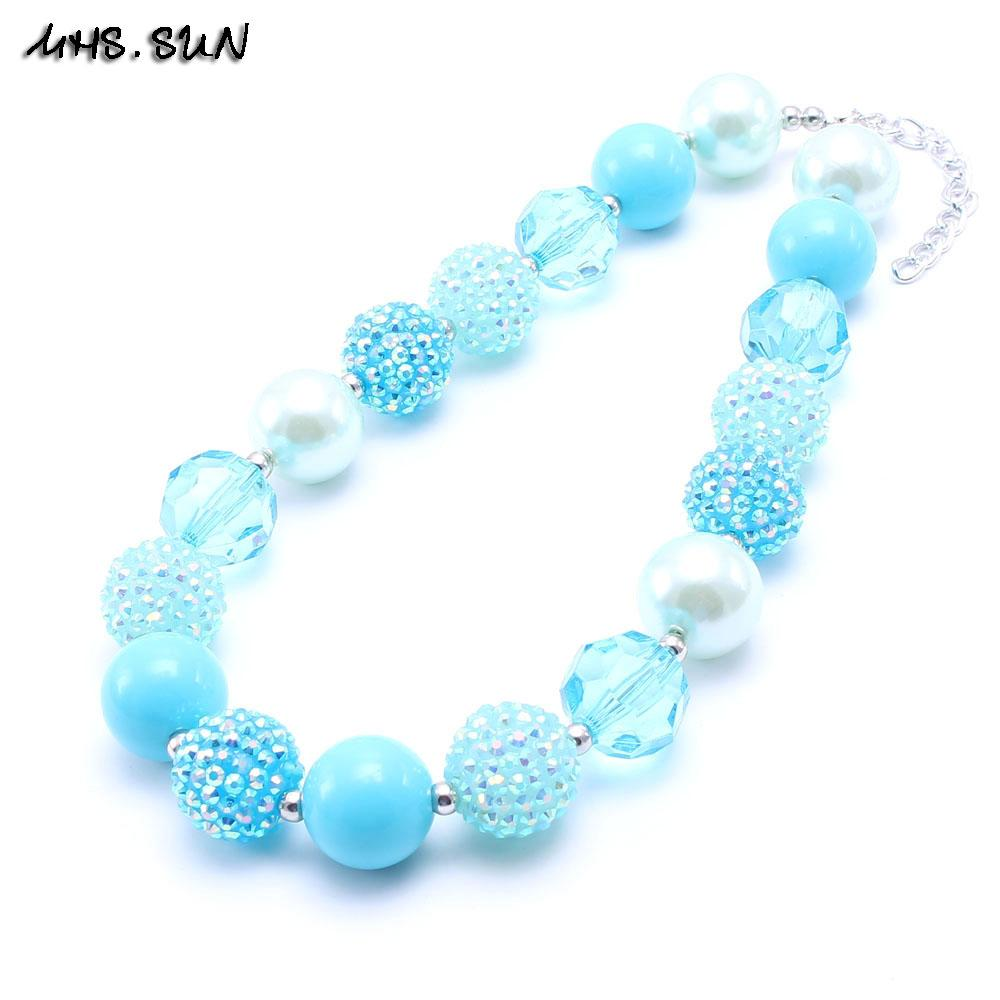 MHS.SUN Blue Color Design Kid Chunky Bead Necklace Fashion Toddlers Girls Bubblegum Bead Chunky Necklace Jewelry Gift For Children