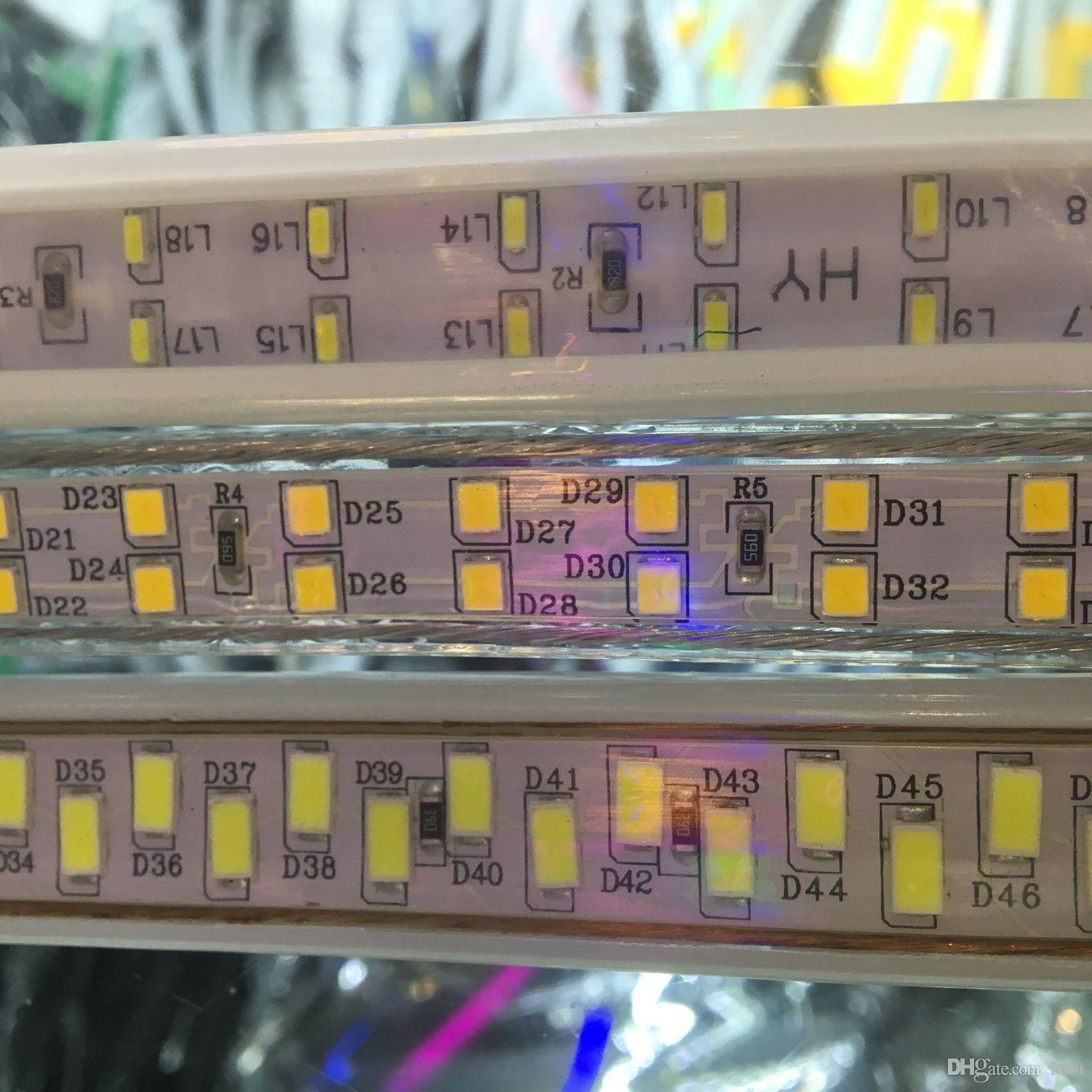 100 m 110 v 220 v dupla fileira smd 5730 3014 2835 5050 led tiras fita levou tira de luz à prova d 'água fita flexível corda branco / branco quente