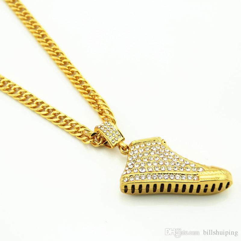 Sıcak satış Tam Rhinestone Koşu ayakkabı Kolye Kolye Erkek Kadın Hip Hop Zincirler Altın Kaplama Bling Takı Hediyeler