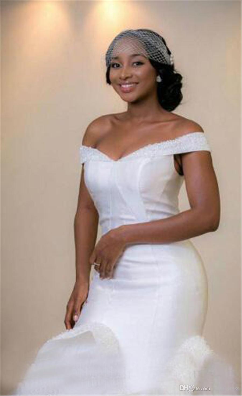 Aso Ebi stile arabo bellanaija abiti da sposa in tulle paillettes perline più il formato sirena africana abiti da sposa vestido de novia