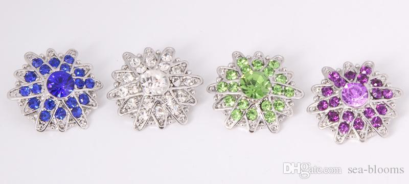 Estrella y flor Rhinestone botón a presión DIY accesorios Jelwery Noosa Fit bricolaje pulsera Mix 8 estilo 18 mm botón a presión E560L