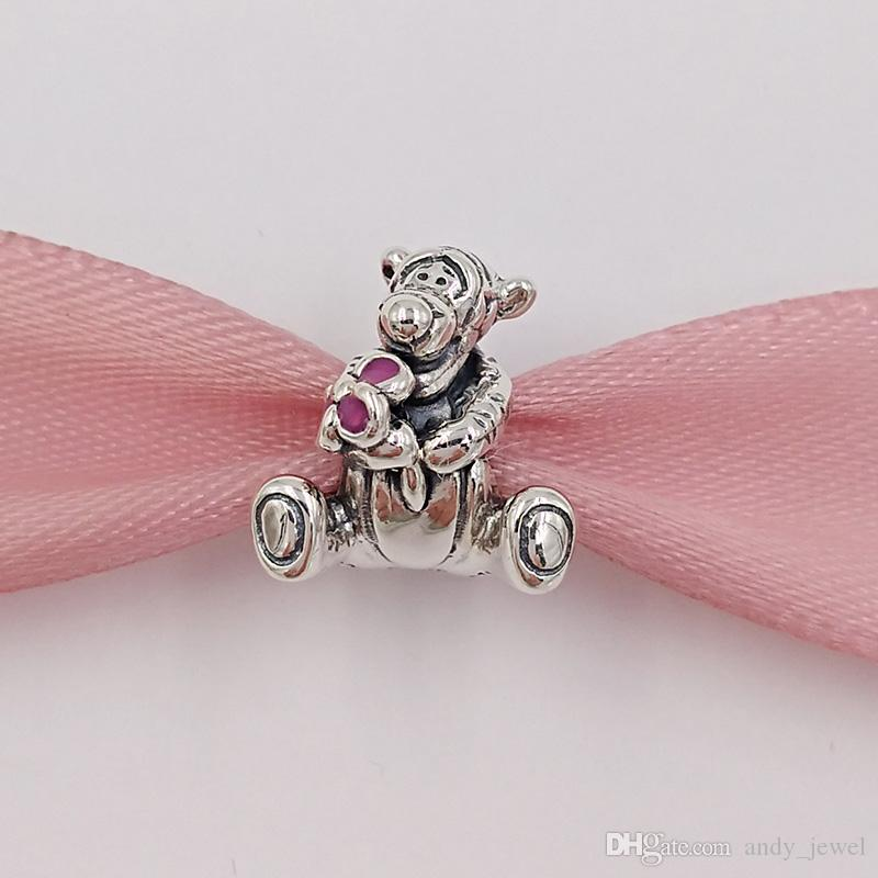 Authentic 925 Sterling Silver Beads Tiger Charme Serve Para Colar De Jóias Pandora Pulseiras Estilo Europeu 792135EN80