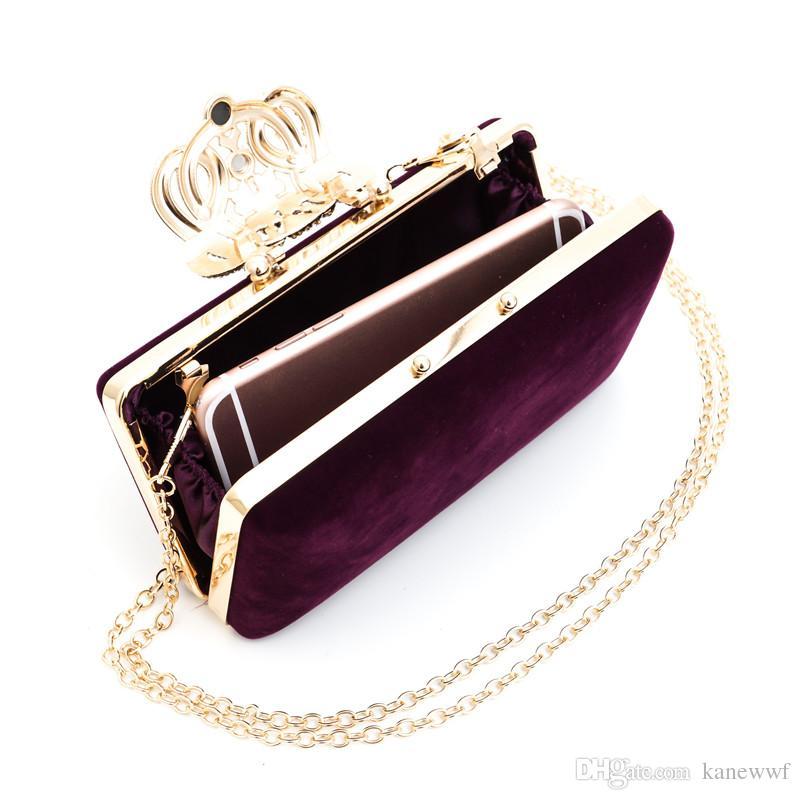 Directo de fábrica Diamantes de la Corona Terciopelo Mujeres Bolsa Día Embragues Pequeño Bolso Monedero Bolsas de Noche de Cristal Tote 8007