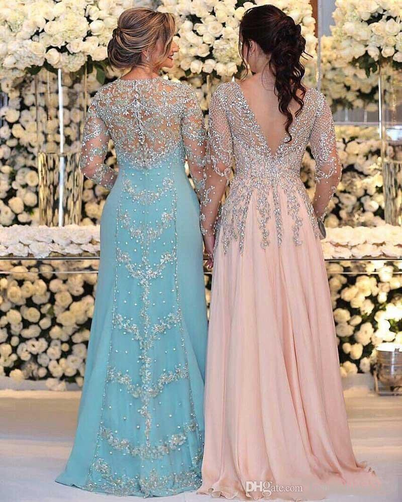 2018 Mother Of The Bride Dresses V Neck Long Sleeves Silver Beaded Lace Backless Crystal Chiffon Plus Size Prom Party Dress Evening Gown