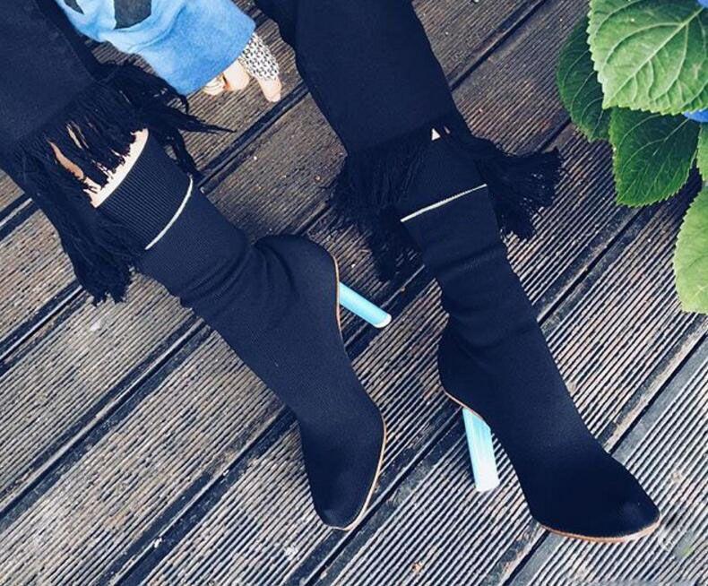мода взлетно-посадочной полосы женщин носки сапоги странные каблуки эластичная ткань закрытый носок высокие каблуки черный красный белый вязание botas 2017 осень зима