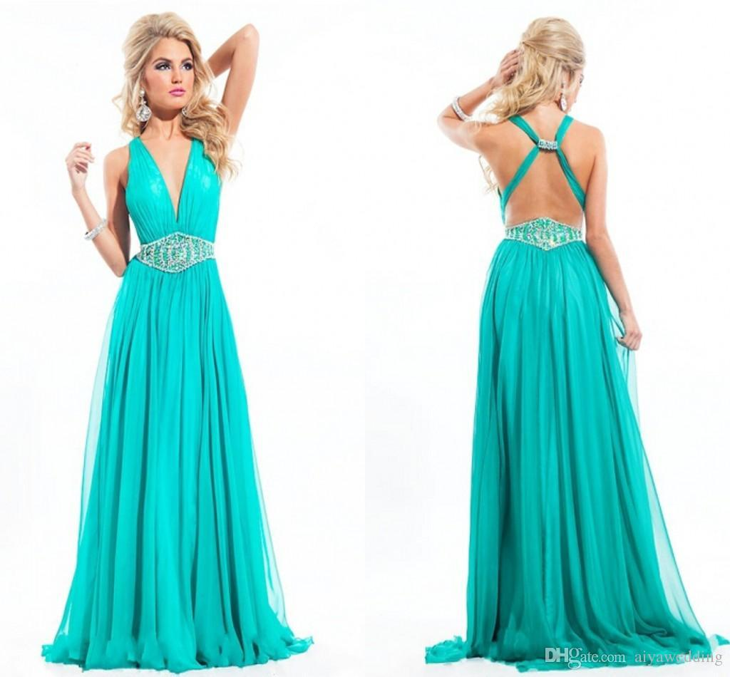 Blue Green Long Prom Dresses 2017 Sexy Backless Deep V Neck ...