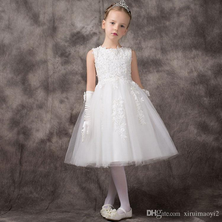 Elegant White Beading Satin Tulle Girls Wedding Dresses Big Bow Girl Party Birthday Dresses Baby Girl Christmas Deluxe Dress 2-11Y