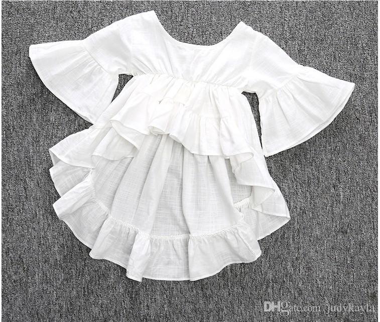 2016 ny ankomst tjej prinsessa klänning vit färg härliga söta tjejer klänningar hög kvalitet 100% bomull barn kläder barn toppar 80-130cm