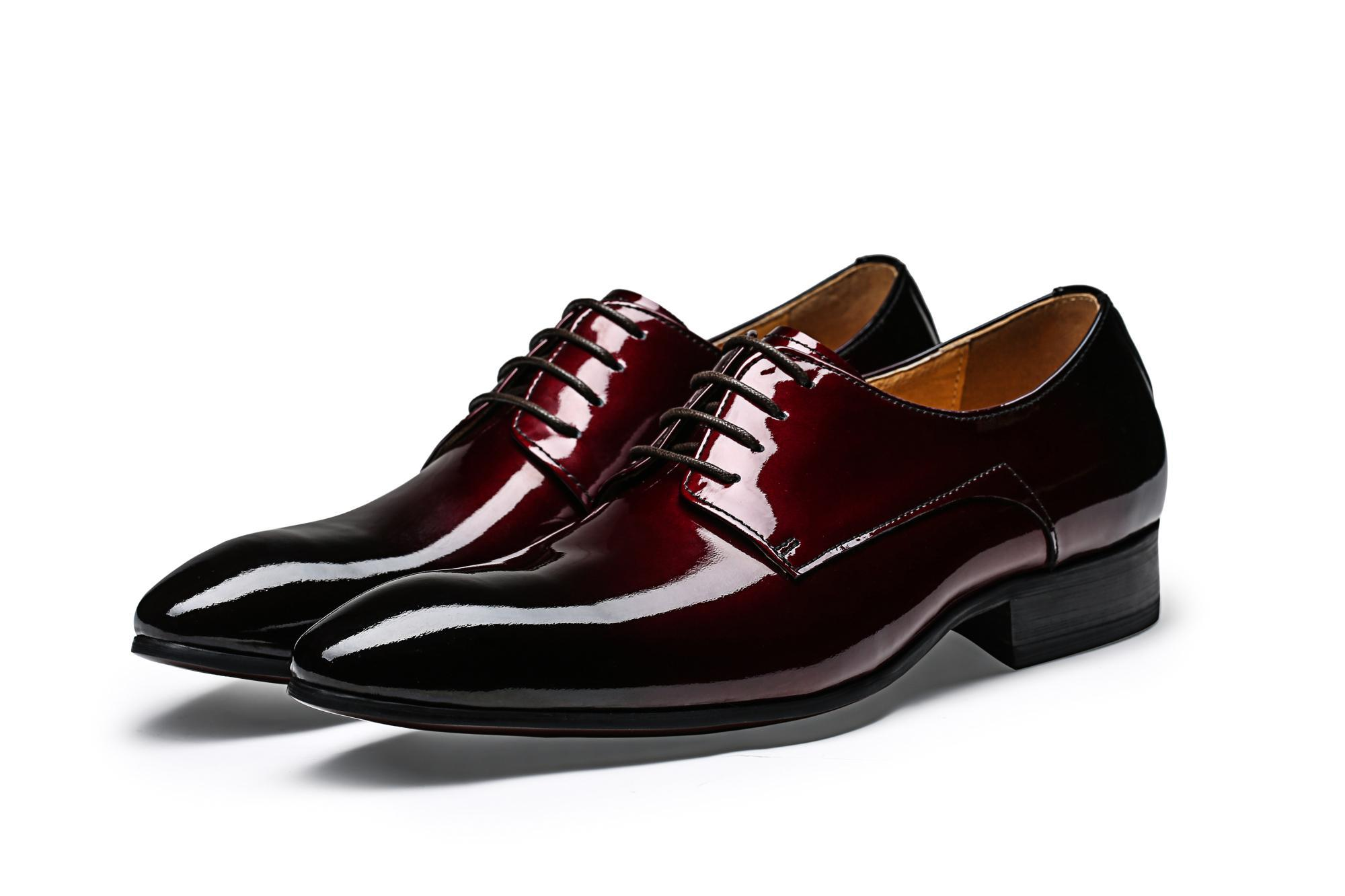 Cool Pointed Toe Wine Red Black Derby Shoes Mens Dress Shoes