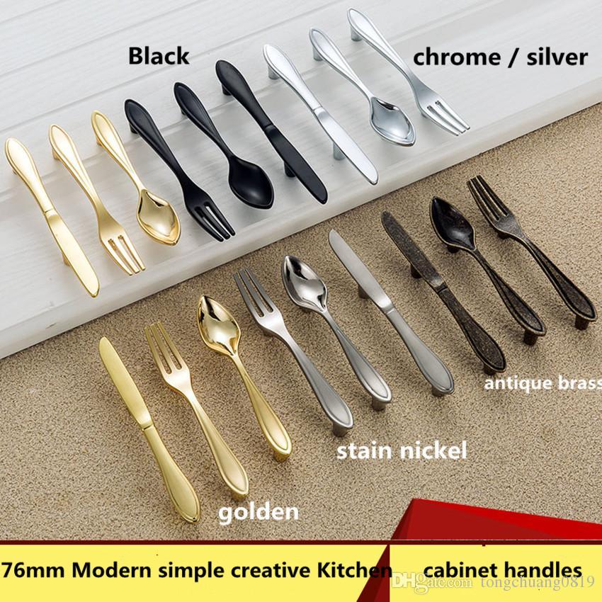 76mm moderne simple créatif argent tache de nickel couteau fourchette cuillère cuisine poignées de porte 3