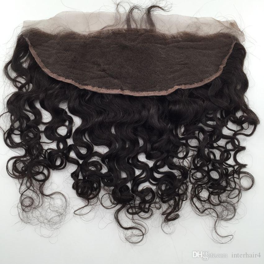 Фронтальная закрытие 13x4 отбеленные узлы воды волна волос монгольский уха до уха кружева фронтальные волосы кусочки человеческих волос закрытия кружева фронтальные
