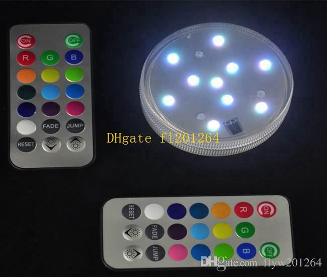 20 teile / los 7 cm Durchmesser Wasserdichte Tauch Multicolors RGB LED Unter Vase Licht Base Mit Mini Neue Fernbedienung