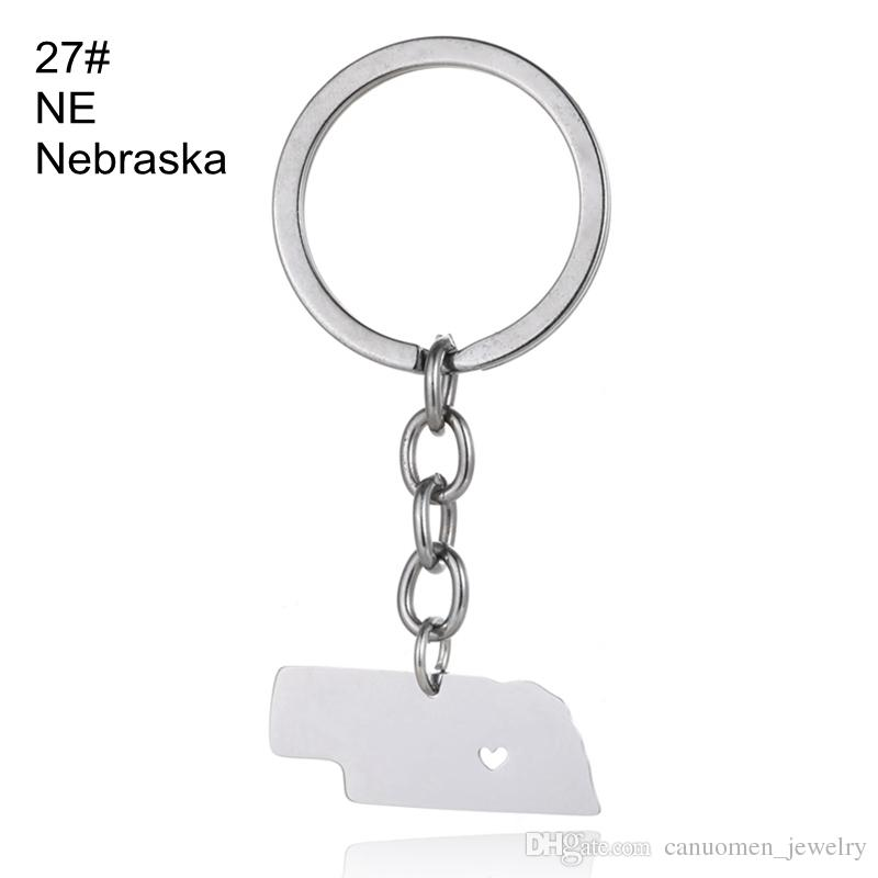 Michigan Map Keychains Minnesota Montana Map Key Rings Stainless Steel with Love Heart USA State Map Key Chain Silver Wholesale