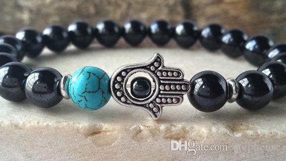 SN566High Quality Designer Männer Hamsa Mala Armband Hämatit Meditation Armband Türkis Yoga Armband Mann `s Stein Armband Großhandel