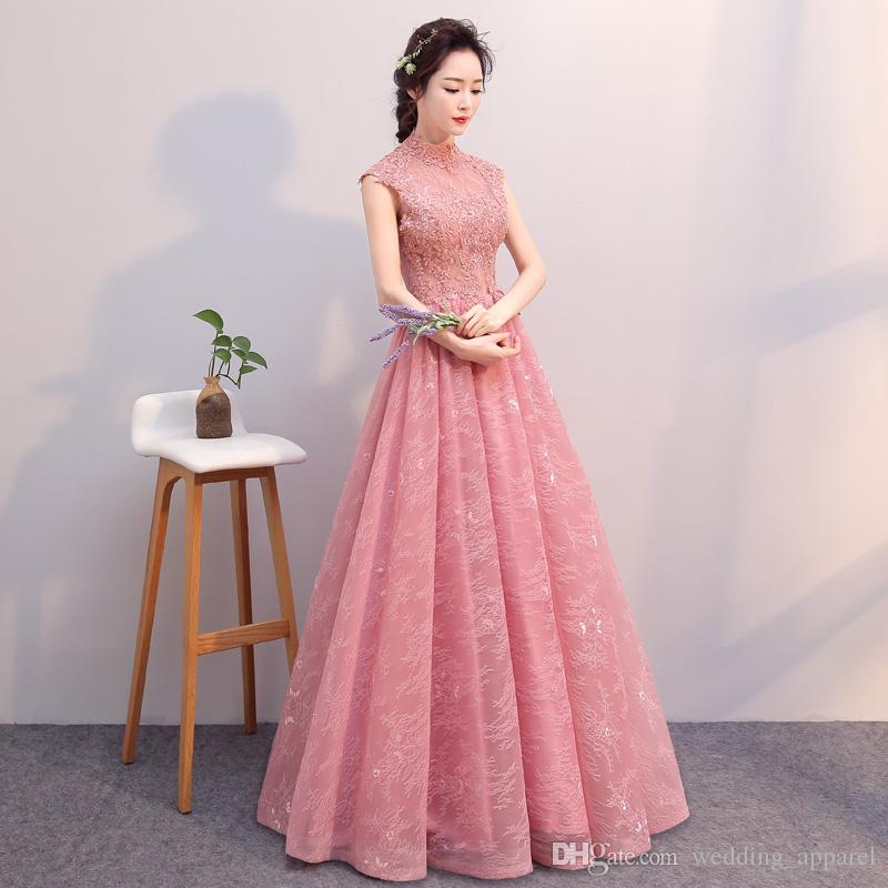 In Stock 2017 Long Pink Evening Gowns Retro Women Formal Evening ...