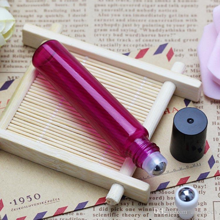 Freies DHL 10ml Roll On Glass Flaschen mit SS Metal Ball nachfüllbar Roll On für Aromatherapie, Duft Ätherisches Öl