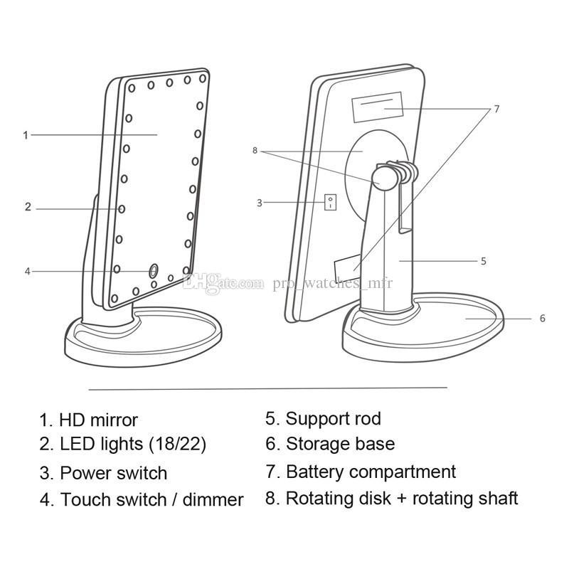 360도 회전 터치 스크린 메이크업 LED 미러 화장품 접는 휴대용 소형 포켓 22 led 조명 메이크업 미러 X064-1