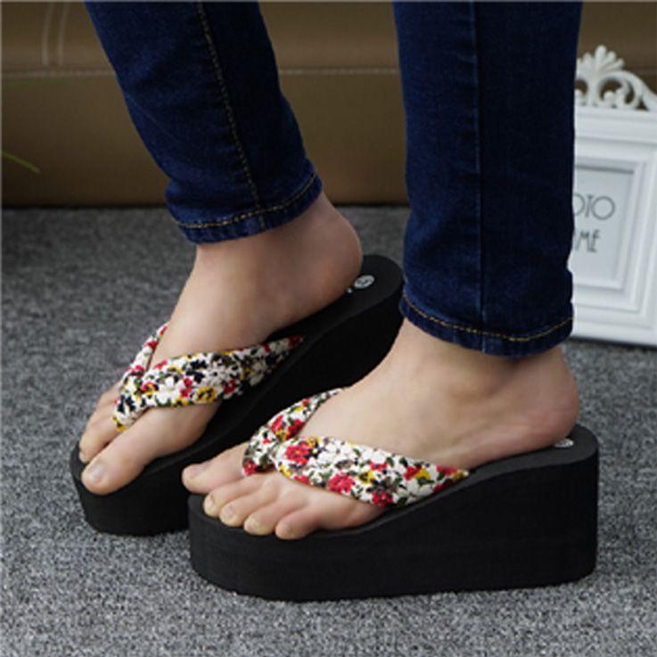 cf62ddd46b0c Summer High Heel Beach Flip Flops Slippers Non Slip Heavy Bottomed Women  Sandals Beachcflat Flip Flops Wholesale Shoes Slippers Womens Cowboy Boots  Slippers ...