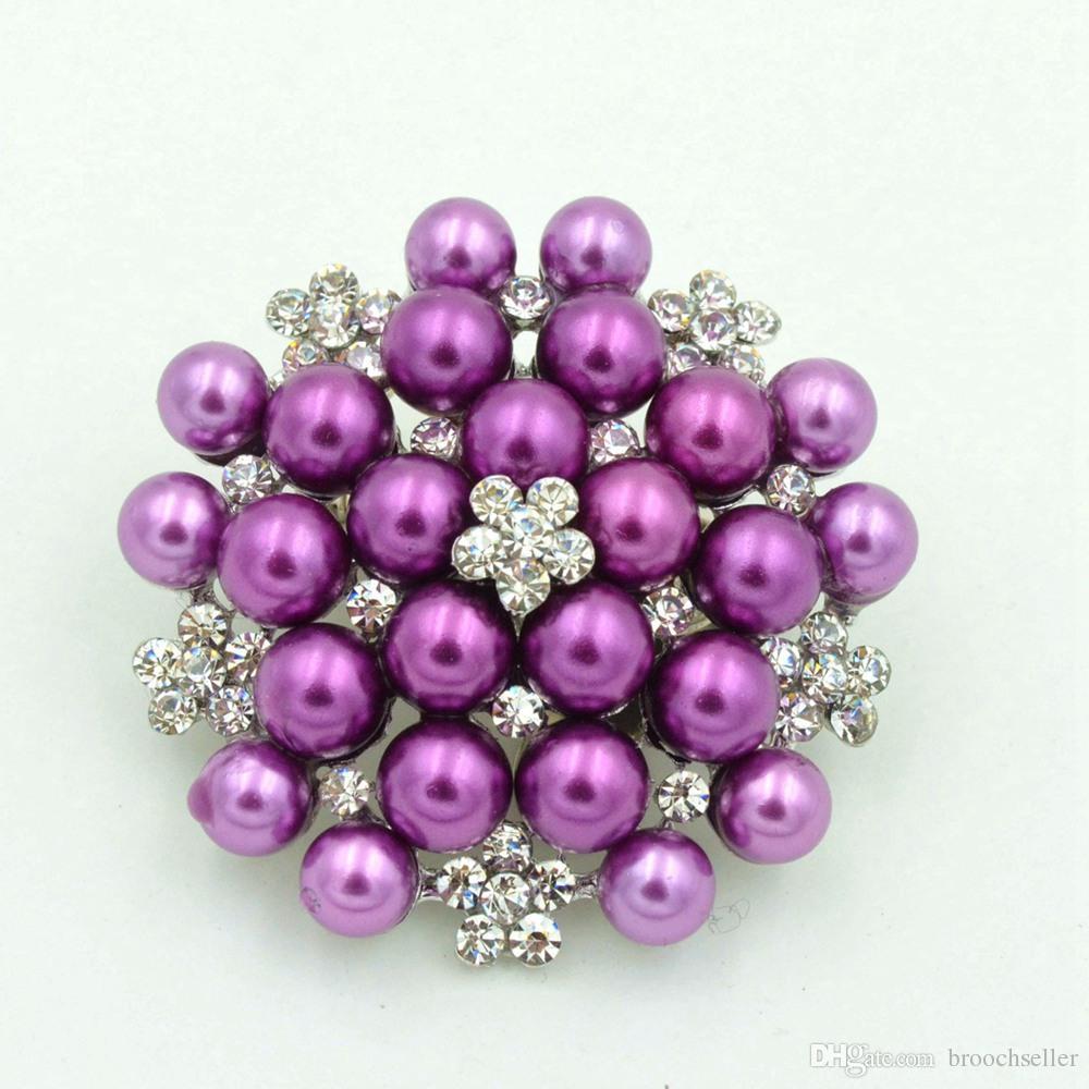 Vintage argent ton strass cristal Diamante et Faux crème perle cluster grand bouquet de mariée broche broche invitation de mariage